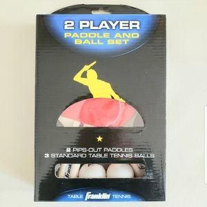NEW 2 PLAYER PADDLE&BALL SET PING PONG FRANKLIN